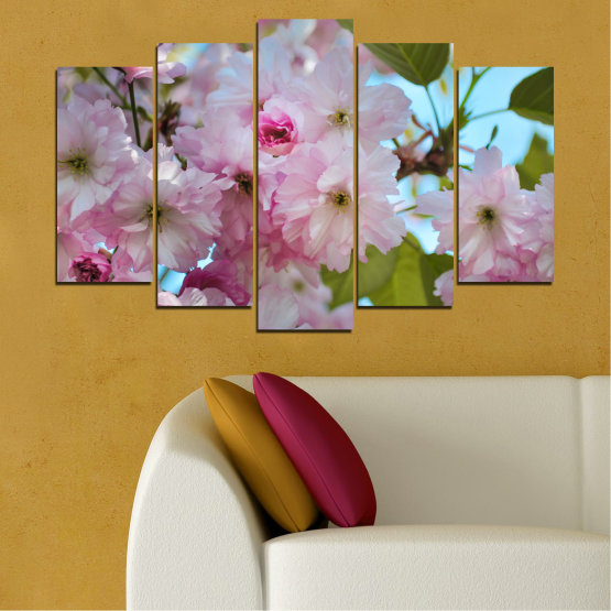 Canvas prints & wall decorative panels - 5 pieces №0496 » Green, Brown, Gray » Nature, Flowers, Spring, Tree Form #1