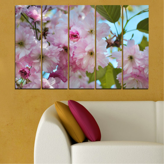 Canvas prints & wall decorative panels - 5 pieces №0496 » Green, Brown, Gray » Nature, Flowers, Spring, Tree Form #2
