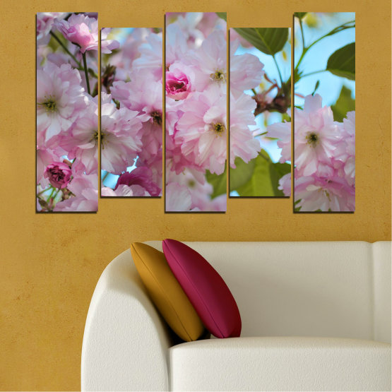 Canvas prints & wall decorative panels - 5 pieces №0496 » Green, Brown, Gray » Nature, Flowers, Spring, Tree Form #3