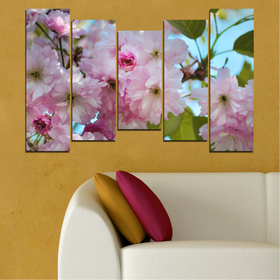 Canvas prints & wall decorative panels - 5 pieces №0496 » Green, Brown, Gray » Nature, Flowers, Spring, Tree Form #4