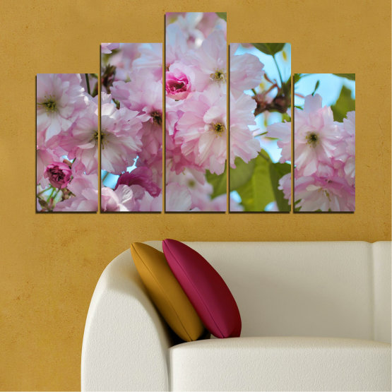 Canvas prints & wall decorative panels - 5 pieces №0496 » Green, Brown, Gray » Nature, Flowers, Spring, Tree Form #5