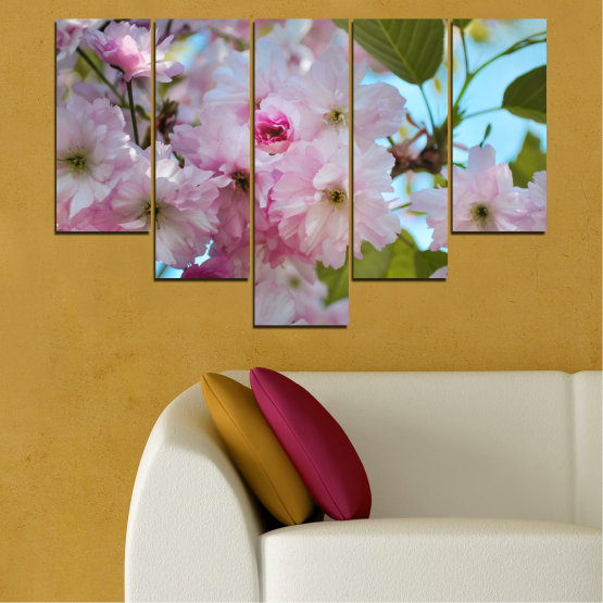 Canvas prints & wall decorative panels - 5 pieces №0496 » Green, Brown, Gray » Nature, Flowers, Spring, Tree Form #6