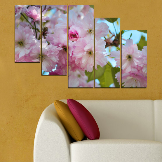 Canvas prints & wall decorative panels - 5 pieces №0496 » Green, Brown, Gray » Nature, Flowers, Spring, Tree Form #7
