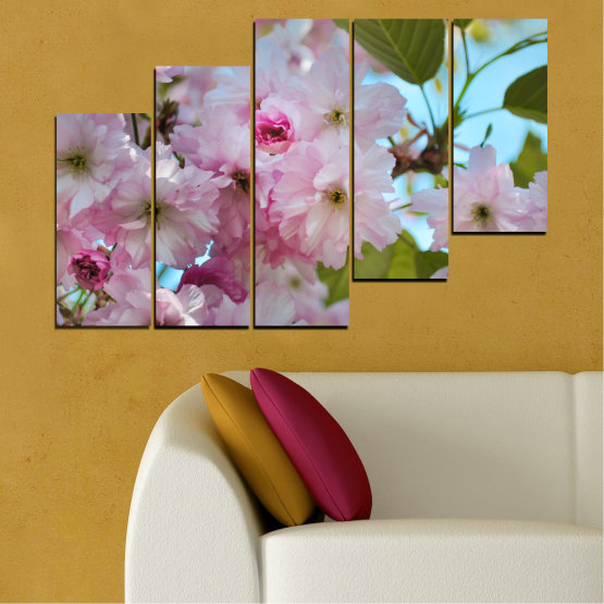 Canvas prints & wall decorative panels - 5 pieces №0496 » Green, Brown, Gray » Nature, Flowers, Spring, Tree Form #8