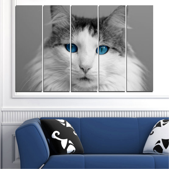 Canvas prints & wall decorative panels - 5 pieces №0497 » Black, Gray, White, Dark grey » Animal, Portrait, Cat Form #2