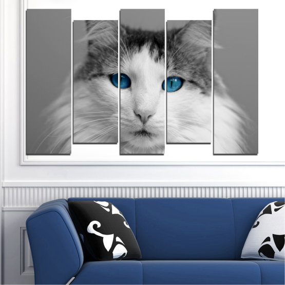 Canvas prints & wall decorative panels - 5 pieces №0497 » Black, Gray, White, Dark grey » Animal, Portrait, Cat Form #3