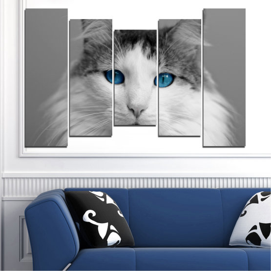 Canvas prints & wall decorative panels - 5 pieces №0497 » Black, Gray, White, Dark grey » Animal, Portrait, Cat Form #4