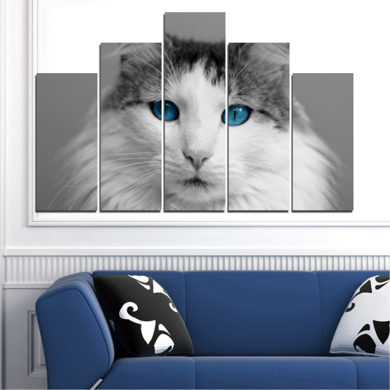 Canvas prints & wall decorative panels - 5 pieces №0497 » Black, Gray, White, Dark grey » Animal, Portrait, Cat Form #5