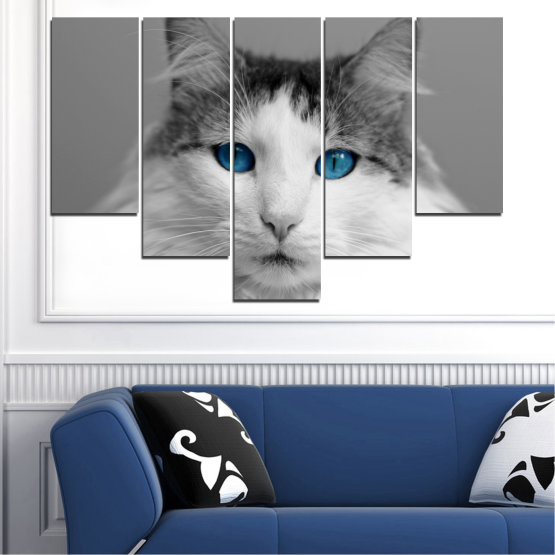 Canvas prints & wall decorative panels - 5 pieces №0497 » Black, Gray, White, Dark grey » Animal, Portrait, Cat Form #6