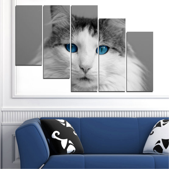 Canvas prints & wall decorative panels - 5 pieces №0497 » Black, Gray, White, Dark grey » Animal, Portrait, Cat Form #7
