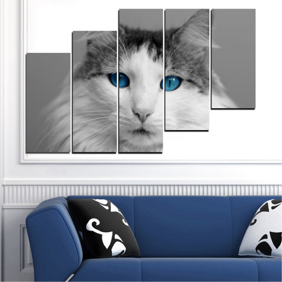Canvas prints & wall decorative panels - 5 pieces №0497 » Black, Gray, White, Dark grey » Animal, Portrait, Cat Form #8