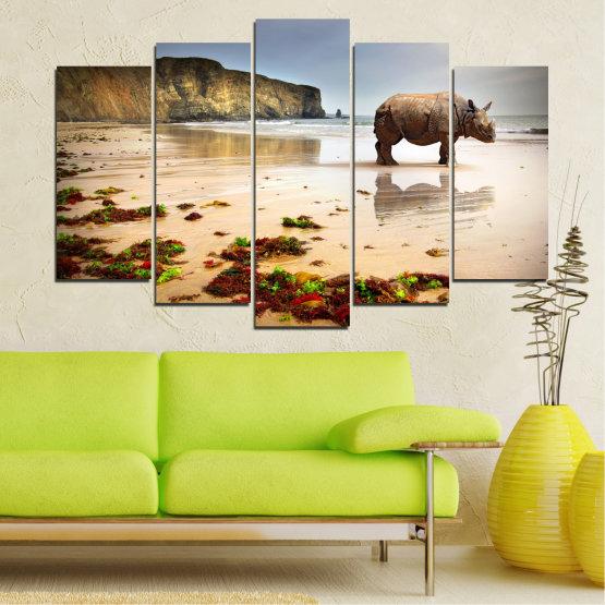 Декоративни панели и картини от канава - от 5 части №0005 » Кафяв, Сив, Бежов » Животни, Плаж, Африка, Бряг, Носорог Form #1