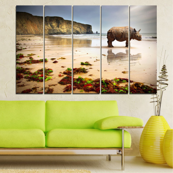 Декоративни панели и картини от канава - от 5 части №0005 » Кафяв, Сив, Бежов » Животни, Плаж, Африка, Бряг, Носорог Form #2