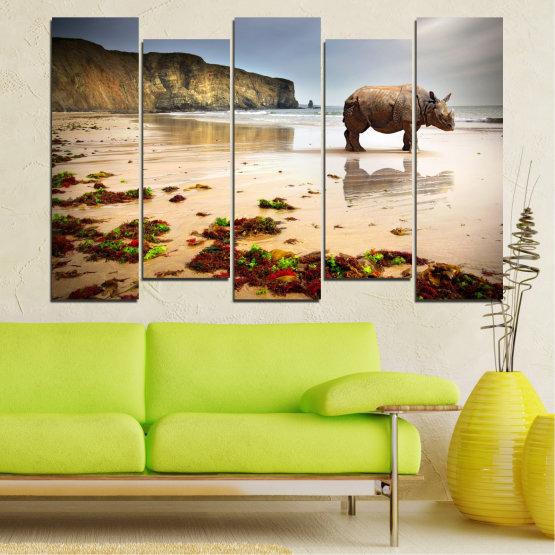 Декоративни панели и картини от канава - от 5 части №0005 » Кафяв, Сив, Бежов » Животни, Плаж, Африка, Бряг, Носорог Form #3