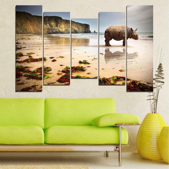 Декоративни панели и картини от канава - от 5 части №0005 » Кафяв, Сив, Бежов » Животни, Плаж, Африка, Бряг, Носорог Form #4
