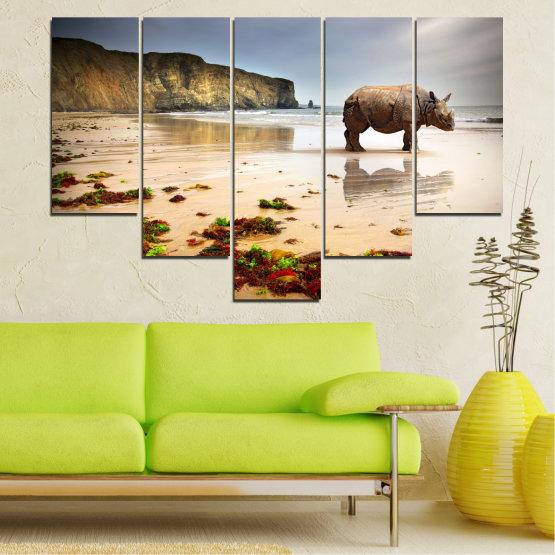 Декоративни панели и картини от канава - от 5 части №0005 » Кафяв, Сив, Бежов » Животни, Плаж, Африка, Бряг, Носорог Form #6