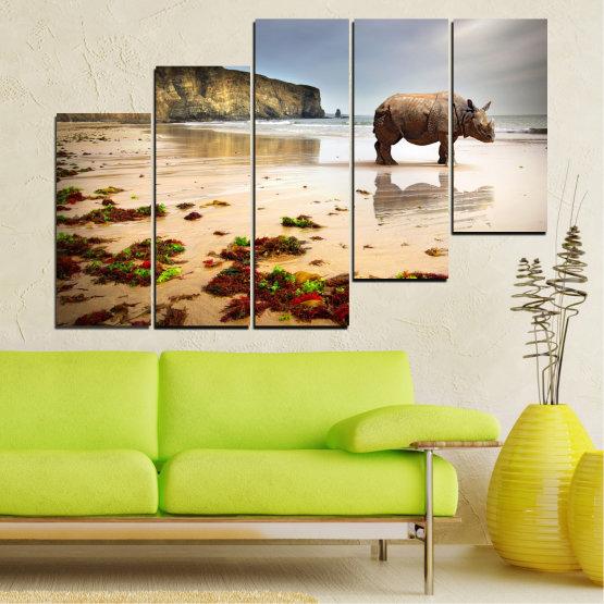 Декоративни панели и картини от канава - от 5 части №0005 » Кафяв, Сив, Бежов » Животни, Плаж, Африка, Бряг, Носорог Form #8