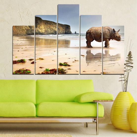 Декоративни панели и картини от канава - от 5 части №0005 » Кафяв, Сив, Бежов » Животни, Плаж, Африка, Бряг, Носорог Form #5