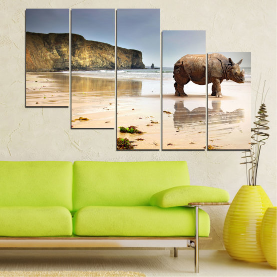 Декоративни панели и картини от канава - от 5 части №0005 » Кафяв, Сив, Бежов » Животни, Плаж, Африка, Бряг, Носорог Form #7