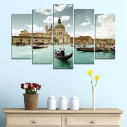 Water, Landscape, City, Venice, Italy, Boat » Brown, Gray, White