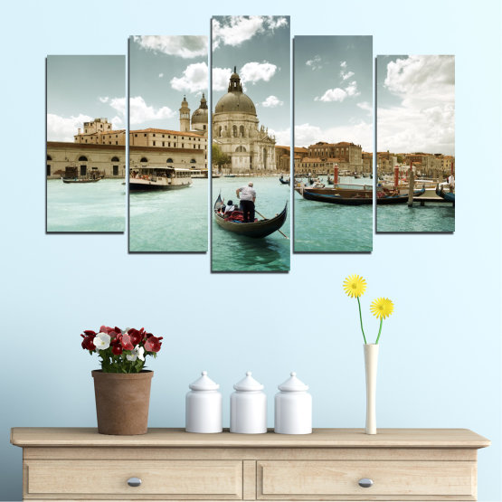 Canvas prints & wall decorative panels - 5 pieces №0050 » Brown, Gray, White » Landscape, Water, City, Venice, Italy, Boat Form #1
