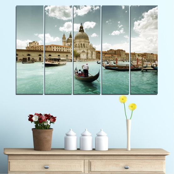 Canvas prints & wall decorative panels - 5 pieces №0050 » Brown, Gray, White » Landscape, Water, City, Venice, Italy, Boat Form #2