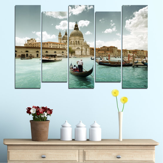 Canvas prints & wall decorative panels - 5 pieces №0050 » Brown, Gray, White » Landscape, Water, City, Venice, Italy, Boat Form #3
