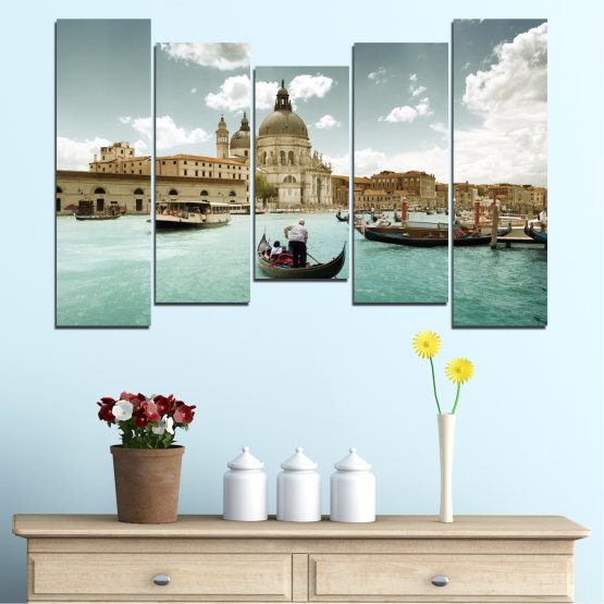 Canvas prints & wall decorative panels - 5 pieces №0050 » Brown, Gray, White » Landscape, Water, City, Venice, Italy, Boat Form #4