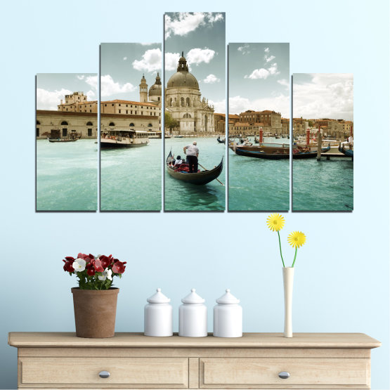 Canvas prints & wall decorative panels - 5 pieces №0050 » Brown, Gray, White » Landscape, Water, City, Venice, Italy, Boat Form #5