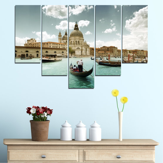 Canvas prints & wall decorative panels - 5 pieces №0050 » Brown, Gray, White » Landscape, Water, City, Venice, Italy, Boat Form #6