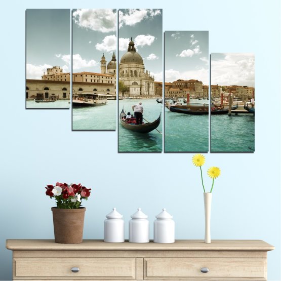 Canvas prints & wall decorative panels - 5 pieces №0050 » Brown, Gray, White » Landscape, Water, City, Venice, Italy, Boat Form #7