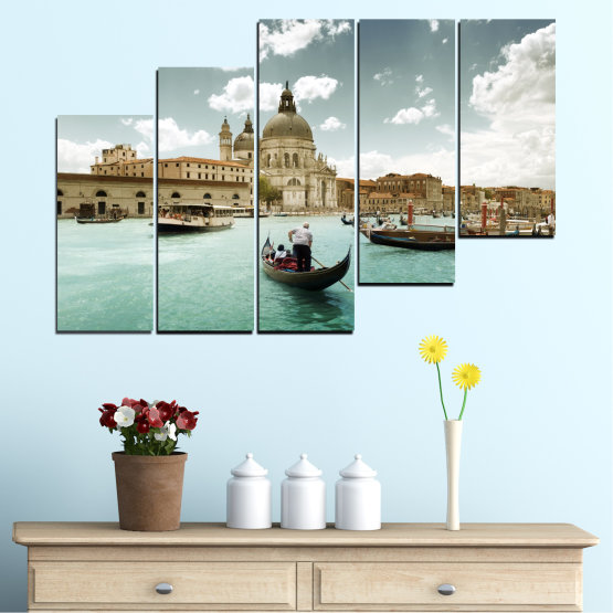 Canvas prints & wall decorative panels - 5 pieces №0050 » Brown, Gray, White » Landscape, Water, City, Venice, Italy, Boat Form #8