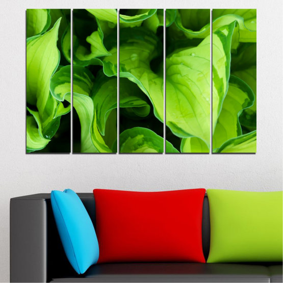 Canvas prints & wall decorative panels - 5 pieces №0500 » Green, Black » Abstraction, Nature, Leaf Form #2