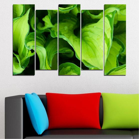 Декоративни панели и картини от канава - от 5 части №0500 » Зелен, Черен » Природа, Абстракция, Листо Form #3