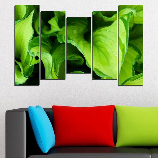 Декоративни панели и картини от канава - от 5 части №0500 » Зелен, Черен » Природа, Абстракция, Листо Form #4