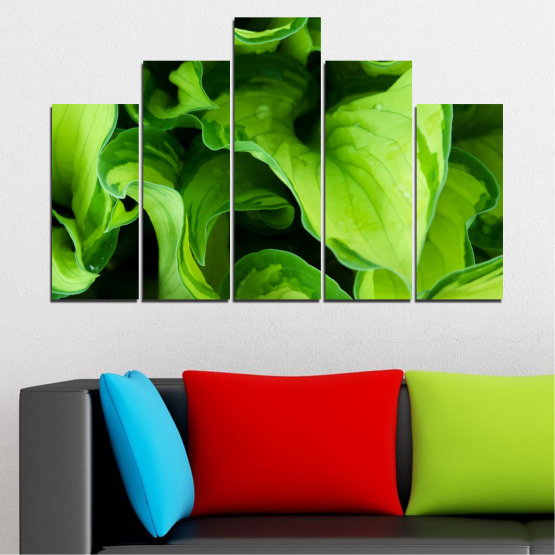 Canvas prints & wall decorative panels - 5 pieces №0500 » Green, Black » Abstraction, Nature, Leaf Form #5
