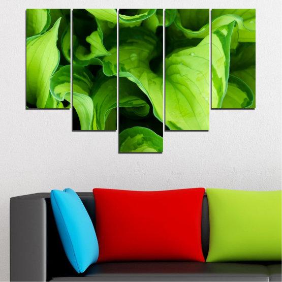 Декоративни панели и картини от канава - от 5 части №0500 » Зелен, Черен » Природа, Абстракция, Листо Form #6