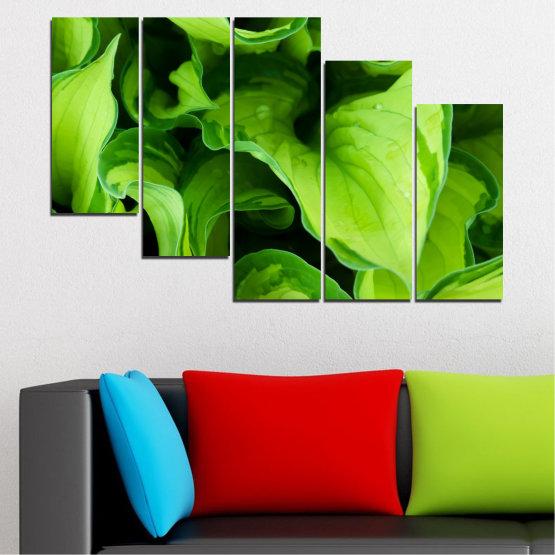 Декоративни панели и картини от канава - от 5 части №0500 » Зелен, Черен » Природа, Абстракция, Листо Form #7