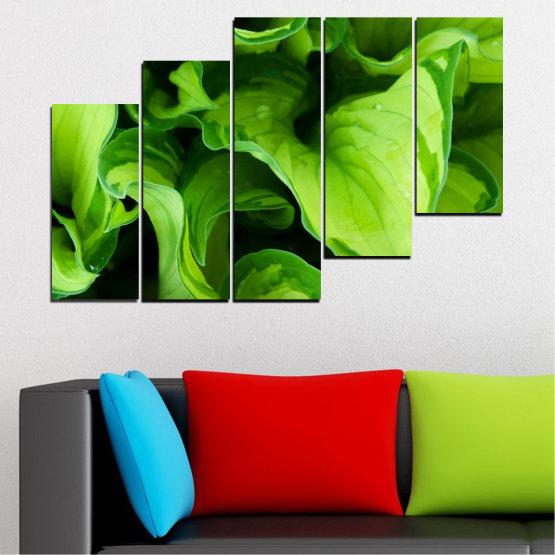 Декоративни панели и картини от канава - от 5 части №0500 » Зелен, Черен » Природа, Абстракция, Листо Form #8