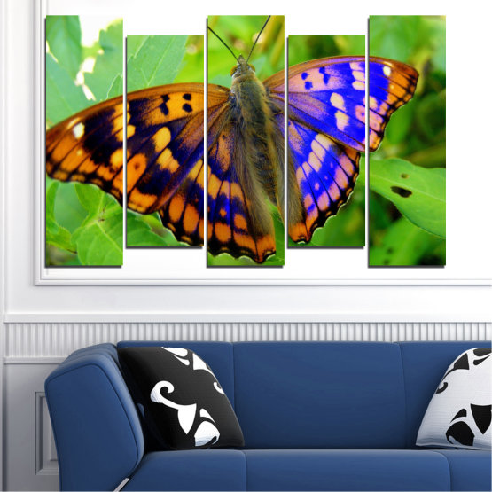 Canvas prints & wall decorative panels - 5 pieces №0502 » Green, Black, Gray » Nature, Animal, Butterfly Form #3