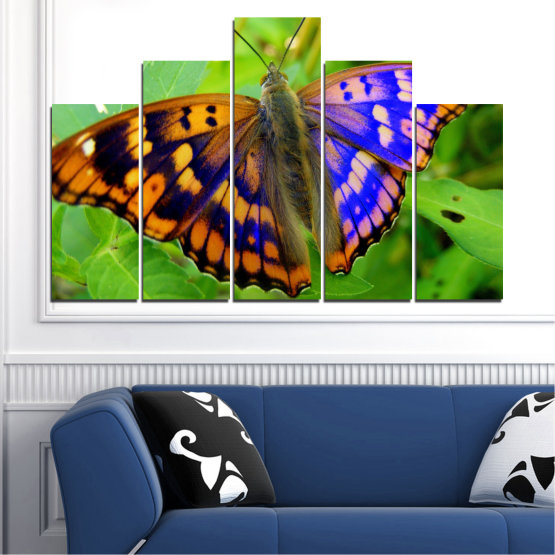 Canvas prints & wall decorative panels - 5 pieces №0502 » Green, Black, Gray » Nature, Animal, Butterfly Form #5