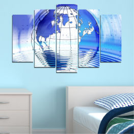 Reflection, Geography, Globe » Blue, Turquoise, Gray, White