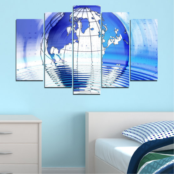 Canvas prints & wall decorative panels - 5 pieces №0503 » Blue, Turquoise, Gray, White » Reflection, Geography, Globe Form #1