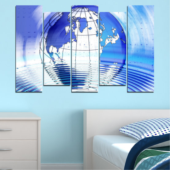 Canvas prints & wall decorative panels - 5 pieces №0503 » Blue, Turquoise, Gray, White » Reflection, Geography, Globe Form #3
