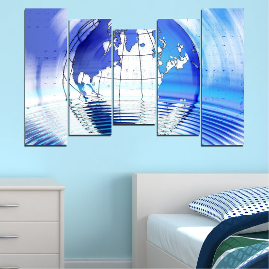 Canvas prints & wall decorative panels - 5 pieces №0503 » Blue, Turquoise, Gray, White » Reflection, Geography, Globe Form #4