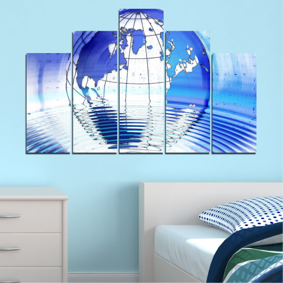 Canvas prints & wall decorative panels - 5 pieces №0503 » Blue, Turquoise, Gray, White » Reflection, Geography, Globe Form #5