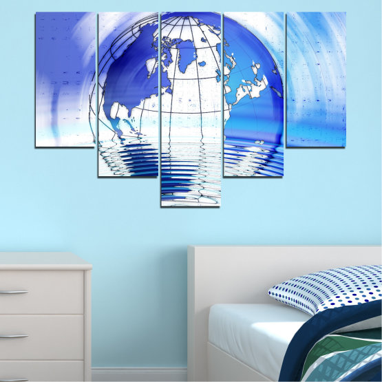 Canvas prints & wall decorative panels - 5 pieces №0503 » Blue, Turquoise, Gray, White » Reflection, Geography, Globe Form #6