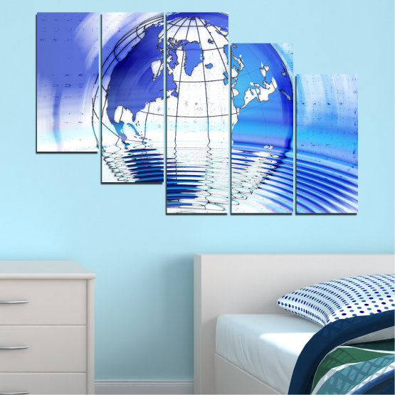 Canvas prints & wall decorative panels - 5 pieces №0503 » Blue, Turquoise, Gray, White » Reflection, Geography, Globe Form #7