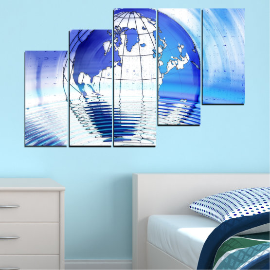 Canvas prints & wall decorative panels - 5 pieces №0503 » Blue, Turquoise, Gray, White » Reflection, Geography, Globe Form #8