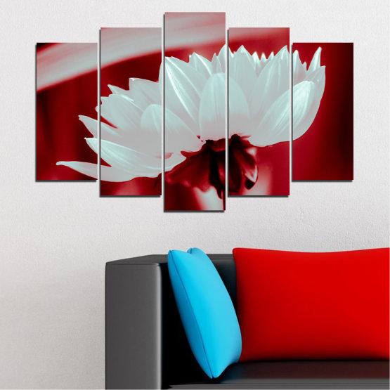 Декоративни панели и картини от канава - от 5 части №0504 » Червен, Сив » Цветя, Природа, Колаж Form #1